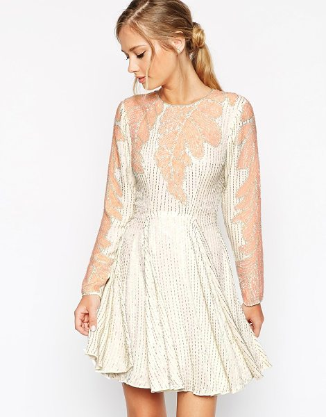 Asos Salon leaf placement embellished skater dress in cream - Skater dress by ASOS Collection Heavyweight woven fabric...