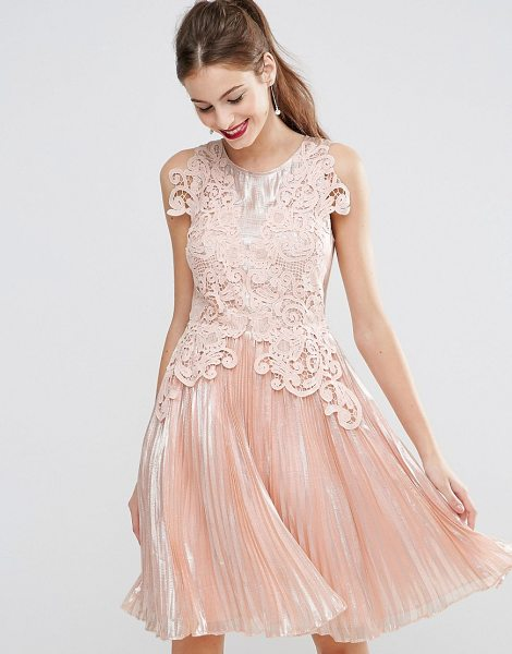 "Asos SALON Metallic Lace Applique Midi Skater Dress in pink - """"Dress by ASOS Collection, Coated woven fabric, Fully..."