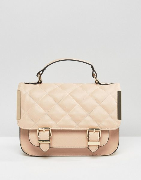 Asos Satchel Bag With Quilted Flap And Metal Side Tab in pink