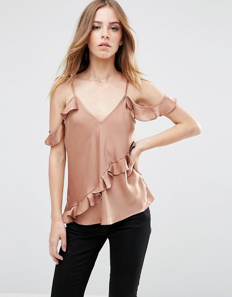 Asos Satin Cold Shoulder Cami Top with Ruffle in tan - Top by ASOS Collection, Lightweight satin, V-neckline,...