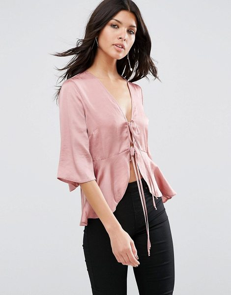 Asos Satin Drape Tie Front Blouse in pink - Blouse by ASOS Collection, Satin touch fabric, Plunge...