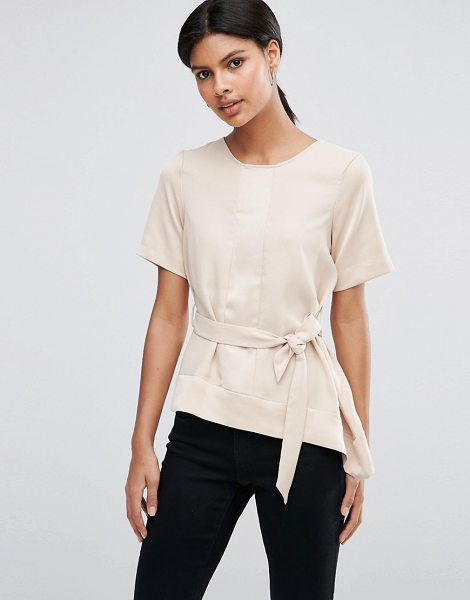 Asos Satin Matte & Shine Asymmetric Tee with Tie Waist in beige - T-shirt by ASOS Collection, Satin-style paneled finish,...