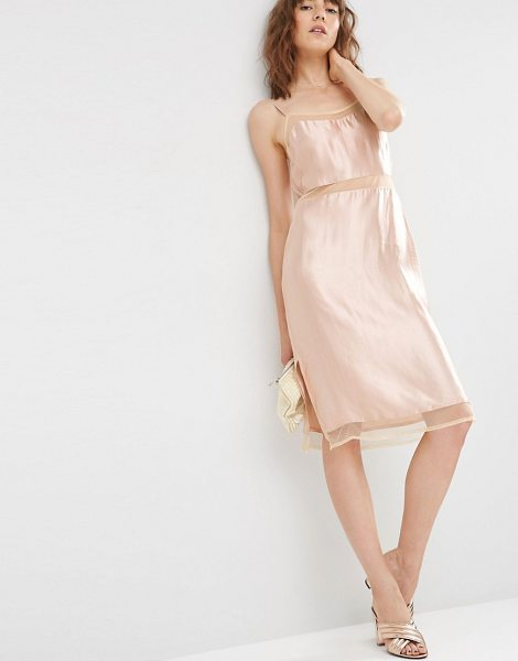 "Asos Satin Slip Cami Dress with Mesh Inserts in pink - """"Dress by ASOS Collection, Smooth satin fabric, Unlined..."
