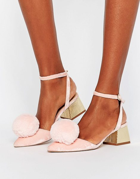 "ASOS SAUCY Pom Pom Mid Heels in pink - """"Heels by ASOS Collection, Velvet upper, Ankle-strap..."