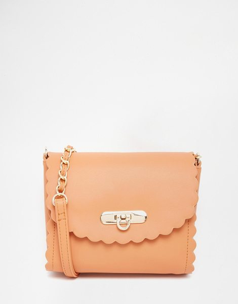 ASOS Scallop cross body bag - Cart by ASOS Collection Smooth leather-look fabric Twist...