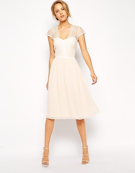 Asos Scallop Lace Midi Dress in pink - Dress by ASOS Collection, Silky touch fabric, Sweetheart...
