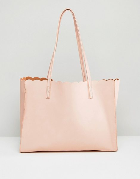 Asos Scallop Shopper Bag With Removable Clutch in pink - Bag by ASOS Collection, Faux-leather outer, Open top,...