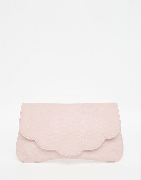 Asos Scallop Snake Clutch Bag in pink - Clutch bag by ASOS Collection, Faux leather outer,...