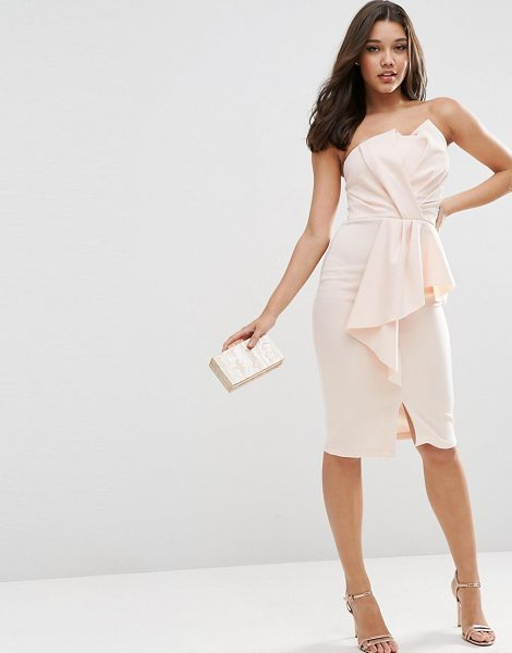 Asos Scuba Bandeau Midi Dress With Heavy Fold Peplum in pink - Midi dress by ASOS Collection, Smooth scuba-style...