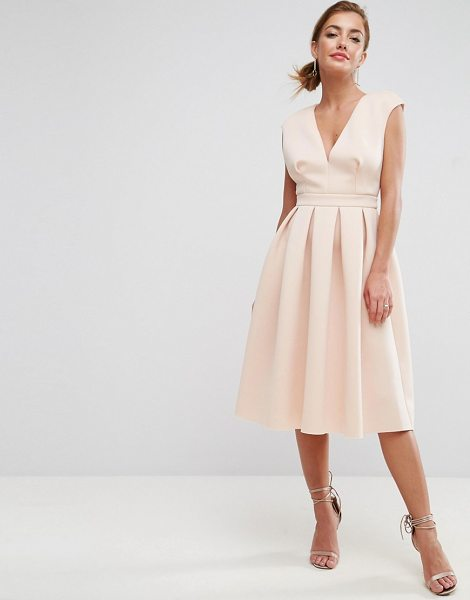 "ASOS DESIGN scuba deep plunge prom midi dress in nude - """"Midi dress by ASOS Collection, Smooth stretch scuba,..."