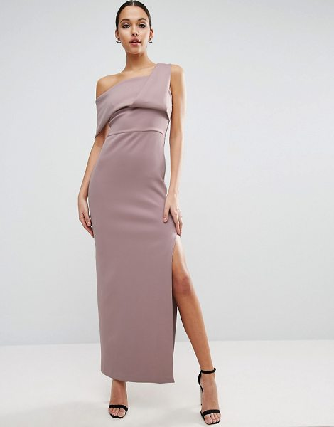 "ASOS DESIGN asos scuba one shoulder fold maxi dress with exposed zip in mink - """"Maxi dress by ASOS Collection, Smooth scuba-style..."