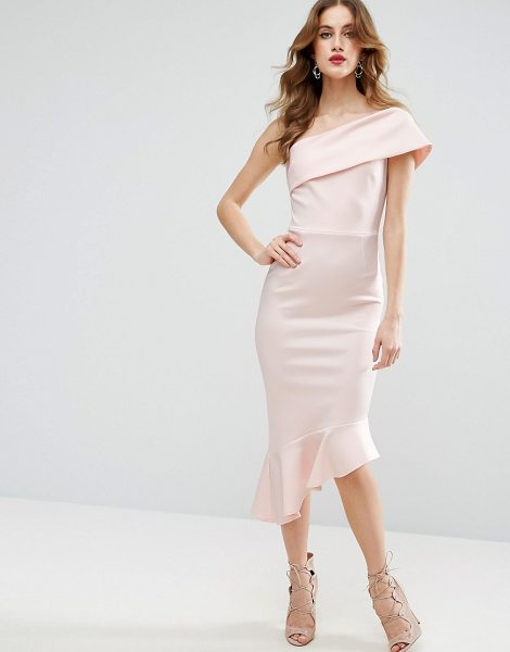 Asos Scuba One Shoulder Pephem Midi Dress in pink - Midi dress by ASOS Collection, Scuba-style fabric,...