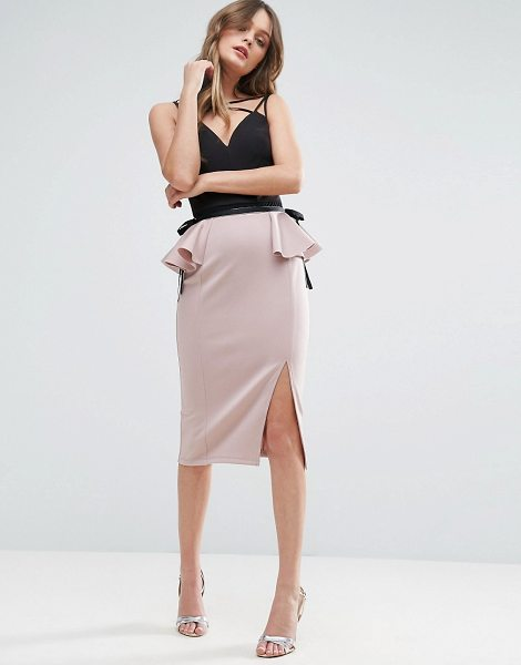Asos Scuba Pencil Skirt with Peplum Side Detail in pink - Pencil skirt by ASOS Collection, Smooth stretch fabric,...