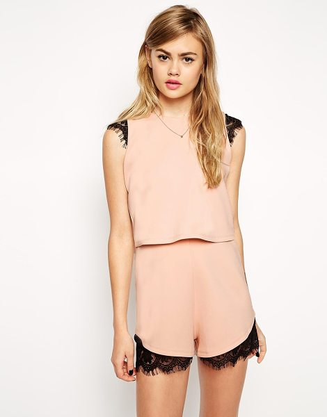 Asos Scuba Romper With Double Layer And Lace Insert in pink - Romper by ASOS Collection, Smooth stretch scuba, Crew...