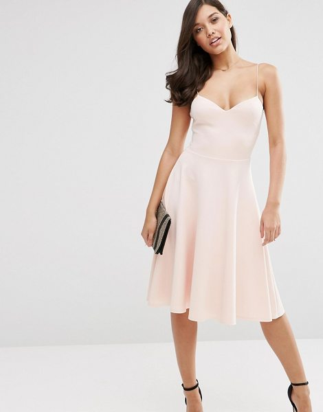 Asos Scuba Strappy Midi Skater Dress in pink - Midi dress by ASOS Collection, Scuba-style fabric,...