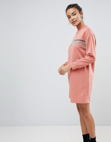 ASOS DESIGN scuba mini sweat dress with chain detail in duskypink - Dress by ASOS Collection, Crew neck, Dropped shoulders,...