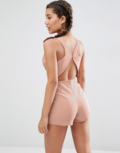 Asos Sculpt Me Plunge Romper with Back Detail in pink - Romper by ASOS Collection, Stretch woven fabric,...