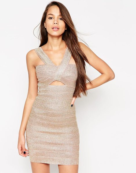Asos SCULPT Premium Bandage Metallic Rose Gold Thread Work Mini Dress in pink - Party dress by ASOS Collection, Mid-weight, firm-stretch...