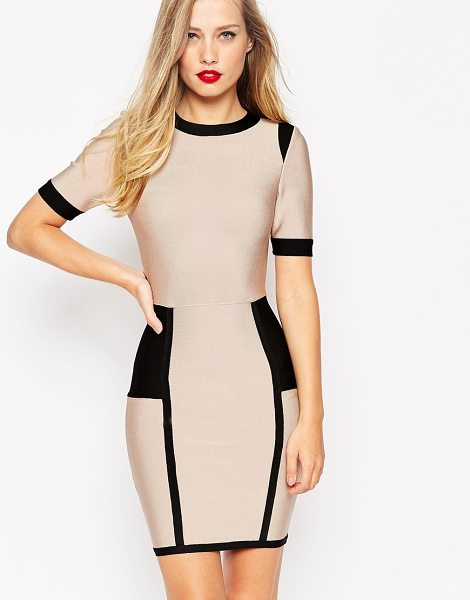 Asos Sculpt premium bandage color block mini cut out body-conscious dress in pink - Body-Conscious dress by ASOS Collection, Firm-stretch...
