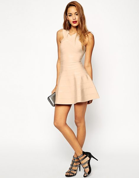 Asos Sculpt premium bandage skater dress in pink - Dress by ASOS Collection, Textured, stretch fabric,...