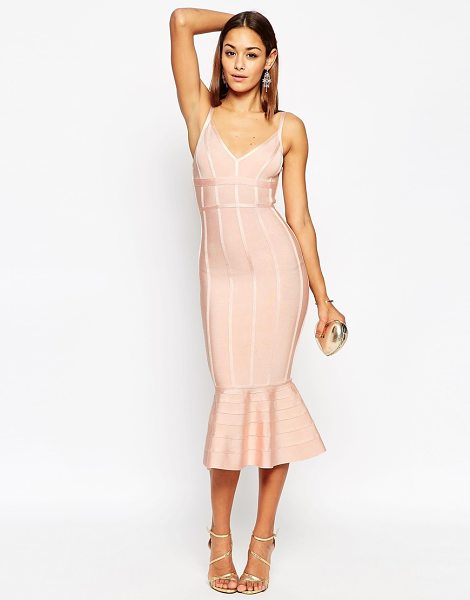 ASOS Sculpt premium bandage sweetheart paneled peplum hem midi dress in pink - Body-Conscious dress by ASOS Collection, Firm-stretch...