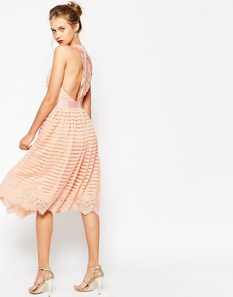 Asos Self Stripe Prom With Lace Back in pink - Evening dress by ASOS Collection, Soft-touch mesh,...