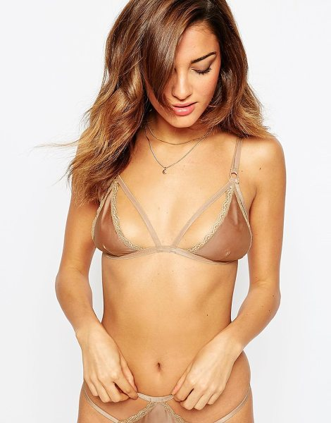Asos Selina Satin Strappy Triangle Bra in gold - Bra by ASOS Collection, Woven satin, Non-padded,...