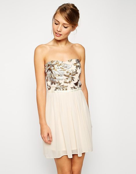Asos Sequin bodice mini dress in multinude - Dress by ASOS Collection Bandeau neckline Mesh bodice...