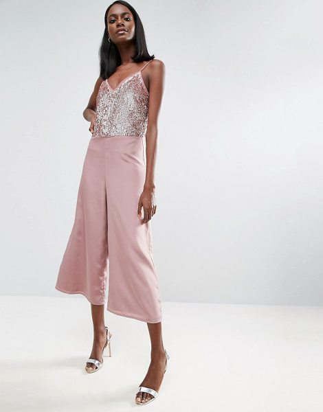 Asos Sequin Jumpsuit with Raw Edge Detail and Culotte Leg in pink - Jumpsuit by ASOS Collection, Soft-touch satin, Fully...