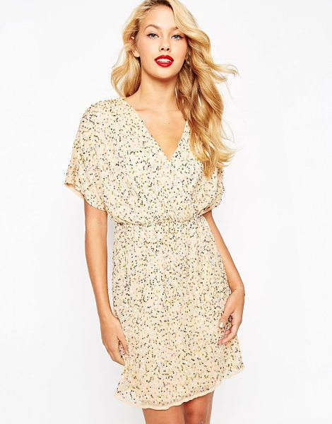 Asos Sequin Kimono Mini Dress in gold - Party dress by ASOS Collection, Lined sequinned mesh,...