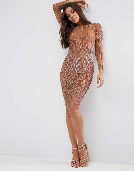 """Asos Sequin Stripe Bodycon Midi Dress in gold - """"""""Midi dress by ASOS Collection, Sequin-embellished..."""