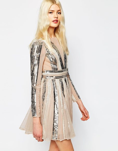Asos Sequin stripe fit and flare mini skater dress in nudesilver - Skater dress by ASOS Collection Lined woven fabric...