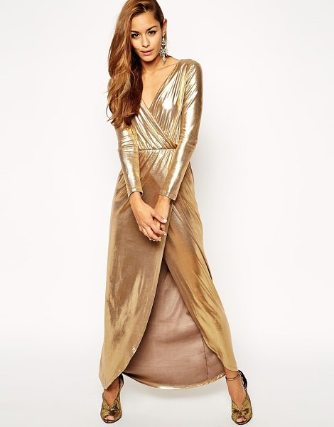 Asos Sexy gold wrap maxi dress in gold - Maxi dress by ASOS Collection Silky-feel fabric with...