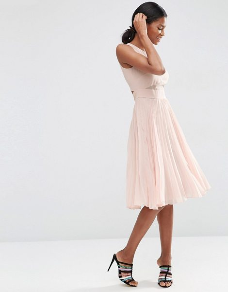 Asos Sheer And Solid Pleated Midi Dress in pink - Dress by ASOS Collection, Lined chiffon, Round neckline,...