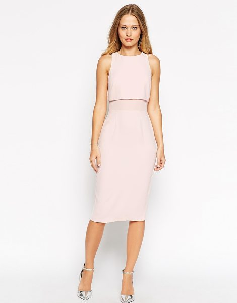 Asos Sheer and solid soft pencil dress in pink - Pencil dress by ASOS Collection, Smooth woven fabric,...