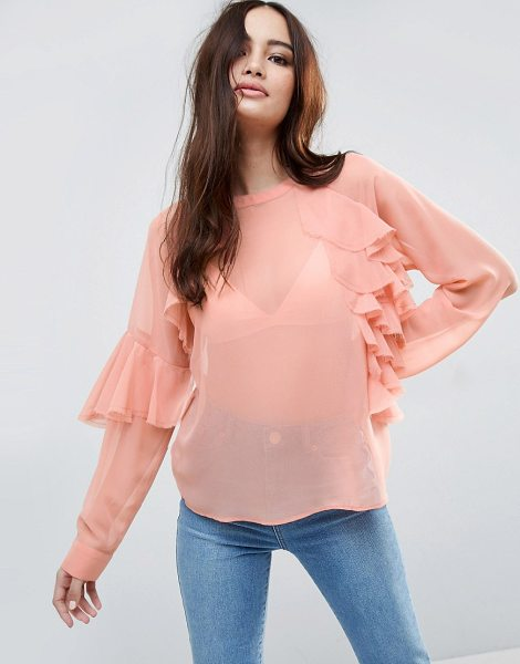 ASOS Sheer Top with Raw Edge Ruffle - Top by ASOS Collection, Lightweight chiffon, Sheer...