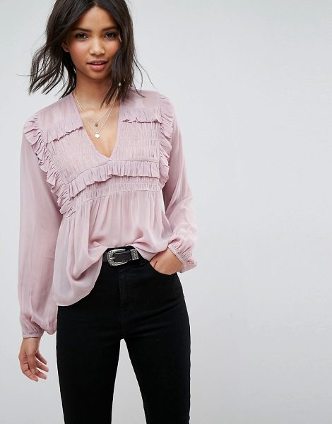 ASOS DESIGN shirred smock with v neck in blush - Top by ASOS Collection, V-neck, Ruffle detail, Blouson...