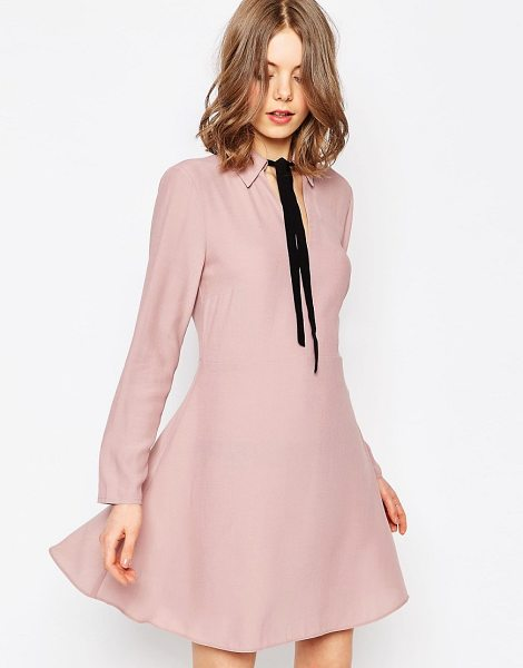 Asos Shirt Dress With Contrast Tie in cream - Dress by ASOS Collection, Lightweight woven fabric,...