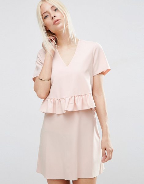 ASOS Short Sleeve Double Layer Ruffle Dress - Dress by ASOS Collection, Smooth woven fabric,...