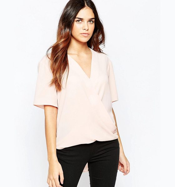 Asos Short Sleeve Drape Wrap Blouse in pink - Blouse by ASOS Collection, Woven fabric, V-neckline,...