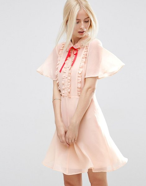 ASOS Short Sleeve Ruffle Front Tea Dress with Contrast Tie - Dress by ASOS Collection, Woven fabric, Cami lining,...