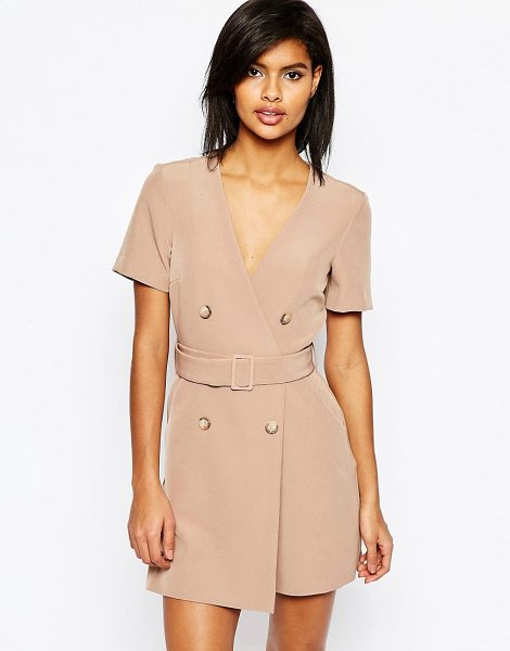 Asos Short Sleeved Double Breasted Romper in beige - Romper by ASOS Collection, Woven fabric, V-neckline,...