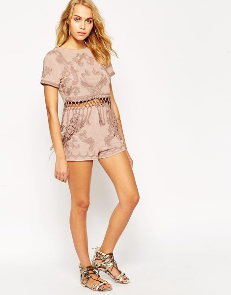 Asos Shorts co-ord with cornelli embroidery in dusty pink - Shorts by ASOS Collection Soft touch jersey High-rise...