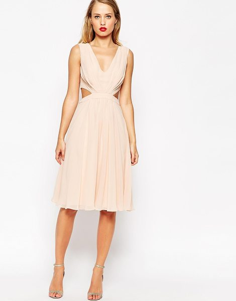 Asos Side Cut Out Midi Dress in pink - Dress by ASOS Collection, Lightweight, lined chiffon,...