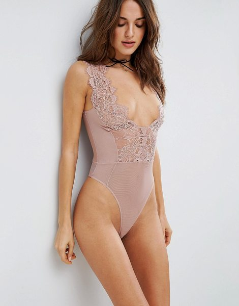 Asos Sidney Eyelash Lace Plunge bodysuit in mink - Body by ASOS Collection, Lightweight mesh, Plunge neck,...
