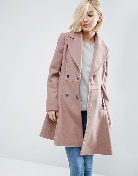 Asos Skater Coat in Wool Blend with Biker Detail in pink - Coat by ASOS Collection, Wool-blend fabric, Fully lined,...