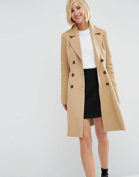 Asos Skater Coat with Double Breast Button Detail in stone - Coat by ASOS Collection, Mid-weight woven cotton,...
