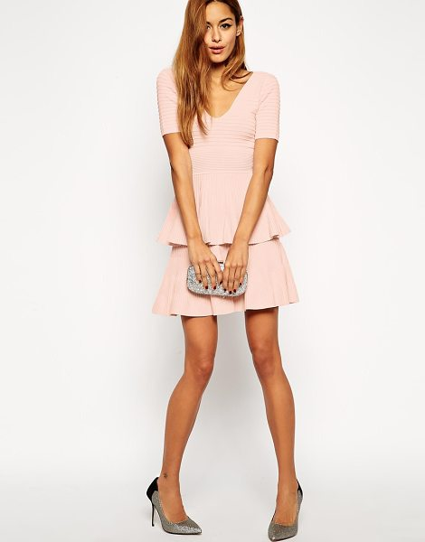 Asos Skater dress in structured knit with double layer in pink - Dress by ASOS Collection Stretch textured rib knit...