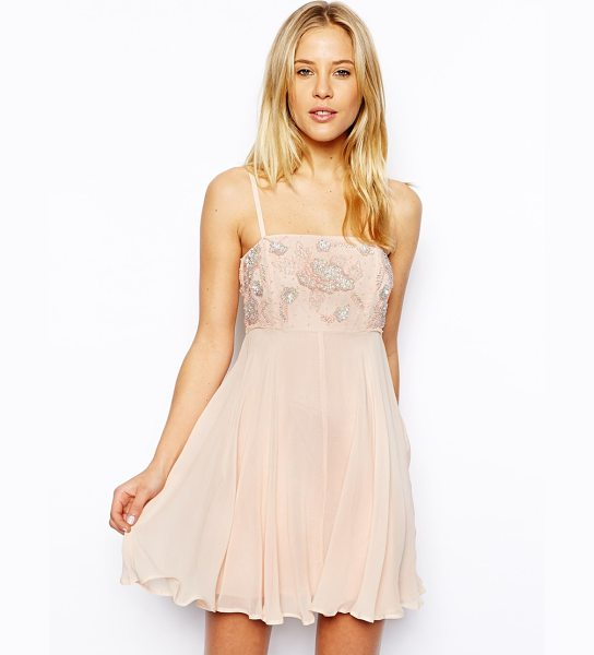 Asos Skater dress with embellished top in nude - Skater dress by ASOS Collection Made from a delicate...