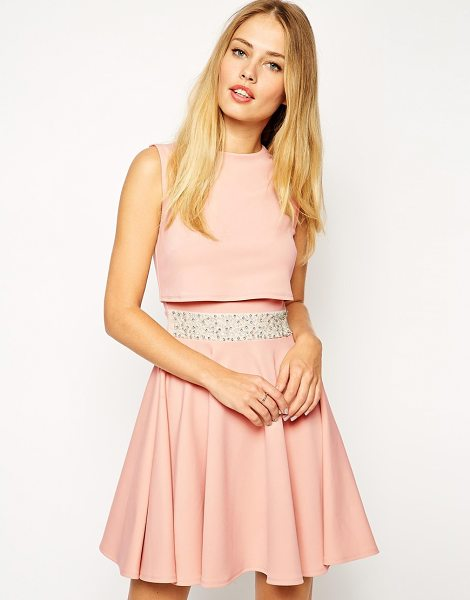 ASOS Skater dress with embellished waist and crop top - Dress by ASOS Collection Lightly textured fabric Crew...